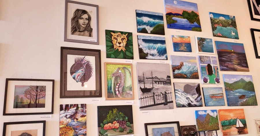 artist paintings on wall