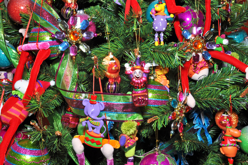 childrens ornaments on a christmas tree